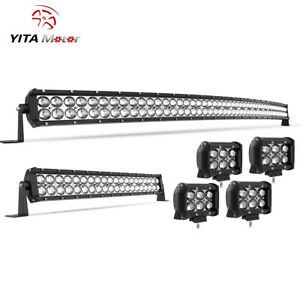 50inch Curved Led Light Bar 22 Combo 4 Pods Offroad Fit Jeep Truck Suv 4x4