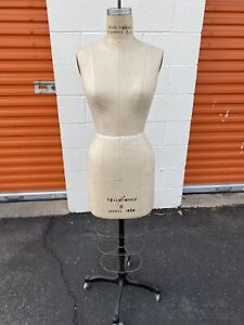 Vintage Collapsible Model 1986 Dress Form Size 8 Women Mannequin Cast Iron Base