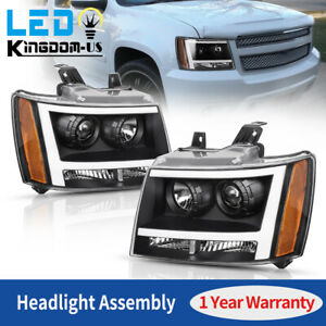 For 2007 2014 Chevy Avalanche Suburban Tahoe Black Led Drl Projector Headlights