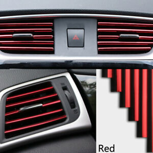 10pcs Red Car Interior Air Conditioner Air Outlet Decoration Bright Strip Cover