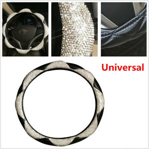 1x Diamond Leather Car Steering Wheel Cover With Bling Bling Crystal Rhinestones