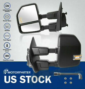 Towing Mirrors W Temp Sensor Power Heated For 17 20 Ford F250 f550 Turn Signal