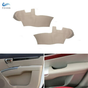 For Hyundai Santa Fe 2006 2012 2 front Door Panels Armest Leather Cover Beige