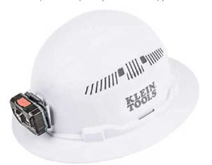 New Klein 60407rl Rechargeable Headlamp Vented Full Brim White Hard Hat
