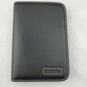 Perry Ellis Portfolio Black Leather 7 Ring Zip Around Personal Organizer Planner