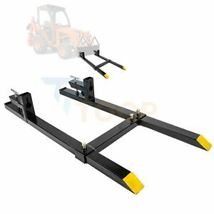 1500 Lb 60 In Pallet Forks With Stabilizer Bar For Loader Bucket Tractor Clamp