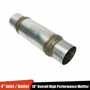4 Inlet Outlet High Performance Muffler Exhaust Resonator 18 Overall Stainless