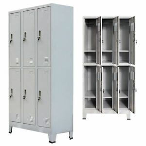 Vidaxl Locker Cabinet W 6 Compartment Office Gym Sports Changing Container