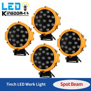 4x 7inch 51w Led Work Light Spot Offroad Truck Round Fog Driving Lamp Atv Yellow