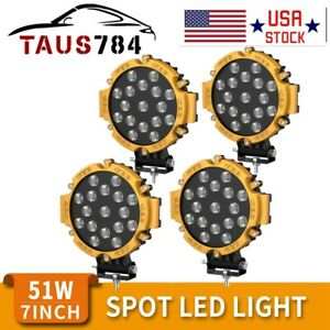 4x Offroad 7inch 51w Led Work Lights Spot Jeep Truck Atv Backup Driving Round
