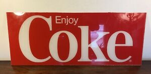 Vintage Coca Cola Machine Sign Collectible Enjoy Coke Logo Panel Insert