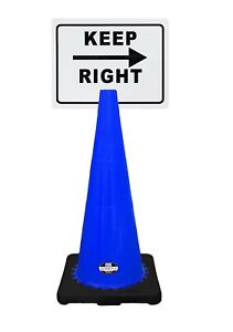 Rk safety 28 Blue Cone Black Base Without Reflective Tape Plus Cone Sign