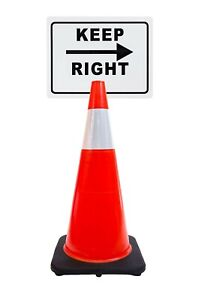 Rk safety 28 Orange Cone Black Base With One 6 Reflective Tape plus Cone Sign