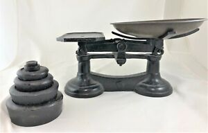 Vintage Cast Iron Balance Scale With Tray And Nesting Weights Imperial