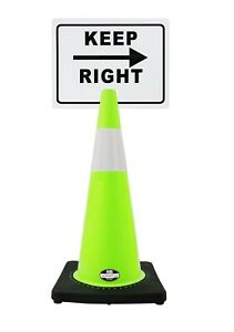 Rk safety 28 Lime Cone Black Base With One 6 Reflective Tape Plus Cone Sign