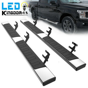 For 15 21 Ford F 150 Super Crew Cab 6 Running Boards Nerf Bar Side Steps Silver