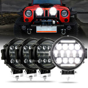 4x 7 Round Led Work Light Fog Driving Lamp For Jeep Suv Utv Truck Offroad Buggy