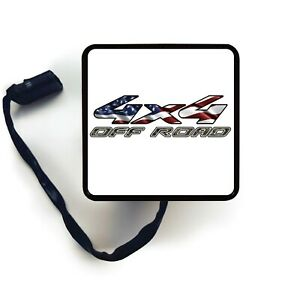 Hitch Cover Art 4x4 Off Road Usa Flag Trailer Receiver Led Brake Light