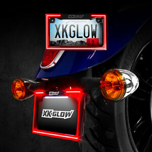 Black Motorcycle Led License Plate Frame With Running Turn And Brake
