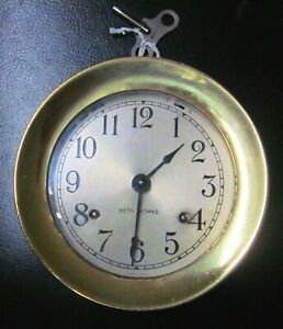 Seth Thomas Corsair Ship S Bells Clock Solid Brass W Key E537 000