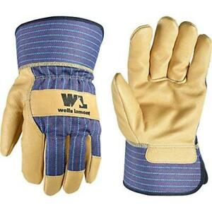 Heavy Duty Work Gloves With Leather Palm Medium wells Lamont 3300m