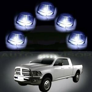 5 Roof Running Light Cab Marker Smoke Cover Amber Led Bulb For Ford F 350 F 450
