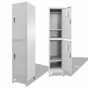 Vidaxl Locker Cabinet W 2 Compartments Wardrobe Office Gym Storage Organizer