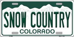 Snow Country Colorado State Background Metal Novelty License Plate Tag