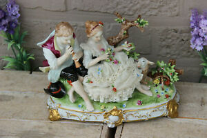 German Unterweissbach Marked Lace Porcelain Group Statue Sheep Bird Couple