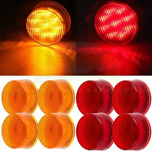 4pair Red Amber Side Marker Trailer Lamp Clearance Lights 2 Round W 9 Diodes