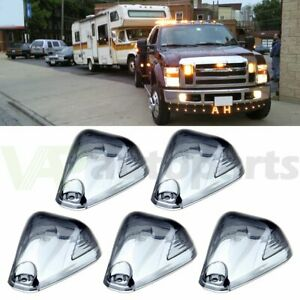 Cab Marker Roof Clearance Lights 5 Led Smoked For 99 16 Ford Superduty F250 F350