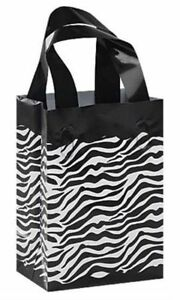 Clearance Sale Zebra Frosted Plastic Medium Bags Gift Party Merchandise Lot 100