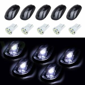 5pcs Cab Roof Marker Clearance Light Smoke W 194 White Led For 03 16 Dodge Ram