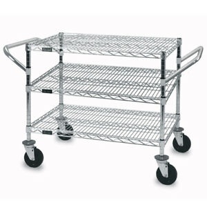 3 Shelves Wire Utility Cart In Chrome 24 W X 36 D X 32 H Inches