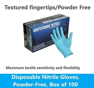 100 Blue Nitrile Blue Disposable Gloves 4 Mil Medical Exam Latex Powder Free