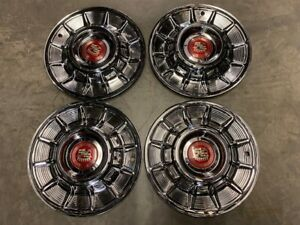 1957 Cadillac Hubcaps Polished With Medallions