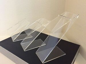 New Elevated Slanted Clear Acrylic Shoe Risers Display Stands 3 Sizes Set Of 3