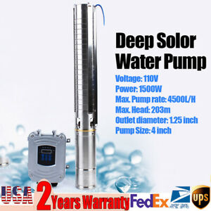 4 Solar Water Pump Submersible Mppt Controller 110v 1500w Dc Deep Well Pump