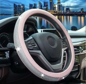 Bling Shiny Rhinestone Diamond Car Steering Wheel Cover for Woman Girl Pink