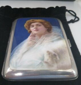Very Rare 925 Sterling Silver Enamel Cigarette Case Outstanding Condition