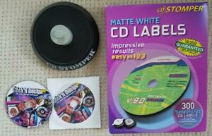 Stomper Cd Labels 300 Matte White Standard Full Face Dvd Software Excellent Cond