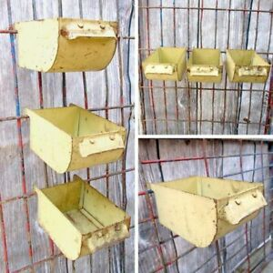 Vintage Rustic Metal Bin 3 Yellow Storage Factory Industrial Parts Hanging Decor