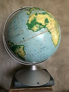 Vintage Very Large World Map Globe Metal Stand Nystrom 50 Pictorial Relief
