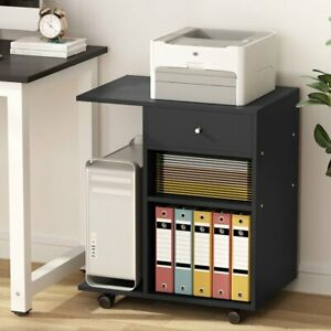 Mobile File Cabinet Computer Side Table Machine Cart Stand For Office Home Black
