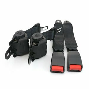 2x Safety Belt 2 Point Harness Buckle Clip Retractable Seatbelt Black Universal