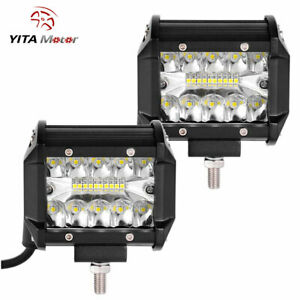 Yitamotor 2x 4inch 200w Cree Led Work Light Bar Pods Flush Mount Combo Driving
