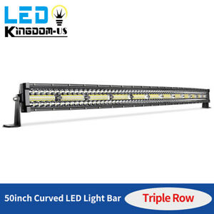 50inch Curved 1080w Tri row Led Light Bar Combo Driving Slim Lamp Offroad Truck
