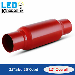 High Flow 2 5 Inlet outlet Stainless Steel Race Performance Muffler Cherry Red