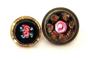 2 Pretty Antique Waistcoat Buttons Pink Roses On Black With Goldstone