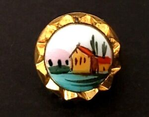 Antique Waistcoat Button Sweet Miniature Painting On Glass Set In Brass